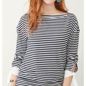 Stella & Dot Maette Kara Navy white striped top